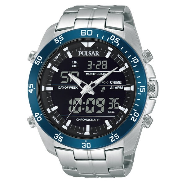 Pulsar Men's Digital & Analog Silver Tone Stainless Steel Chronograph Watch