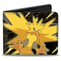 Zapdos Electric Bolts Pose Black Yellows Bi Fold Wallet - One Size Fits most