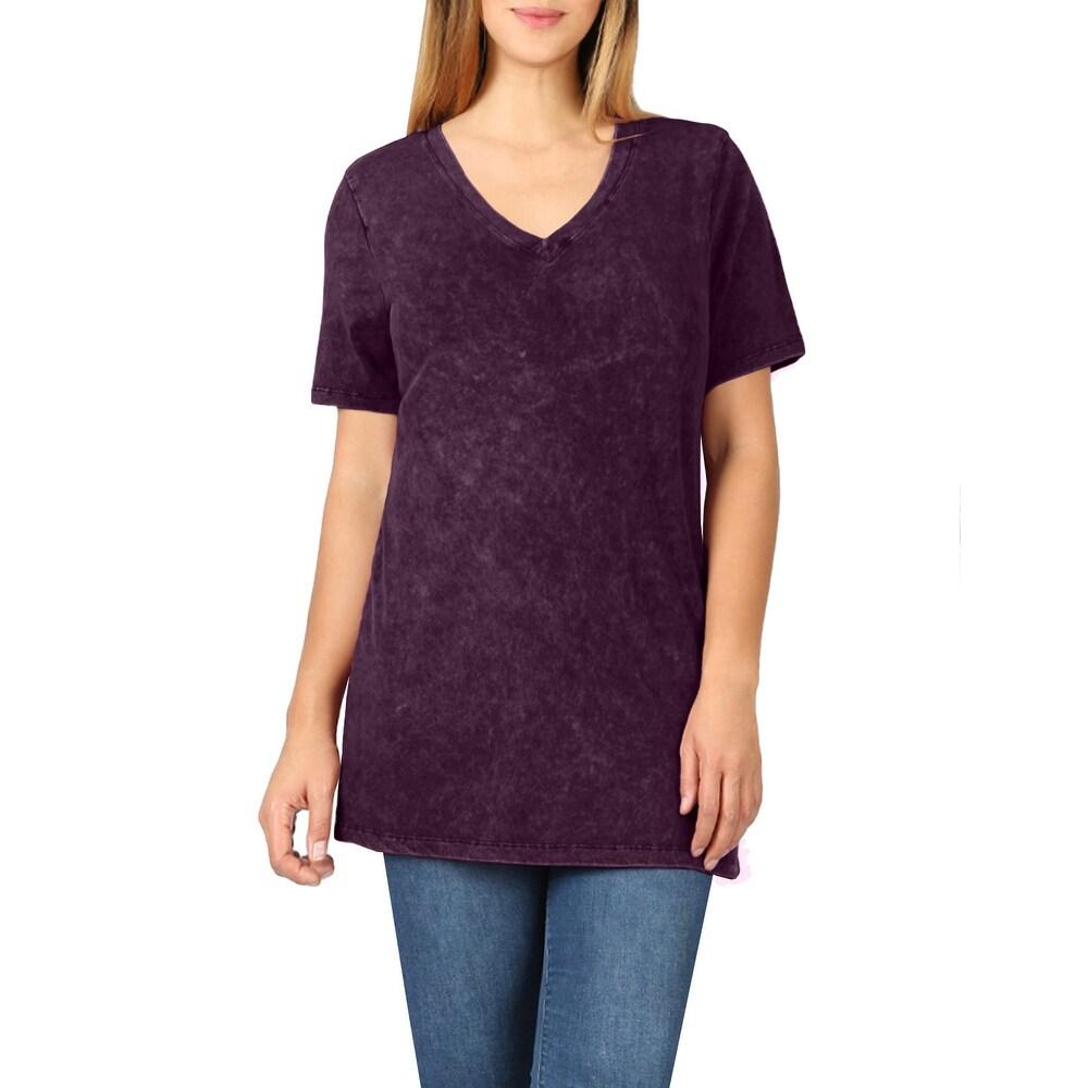 NE PEOPLE Womens Basic Cotton Mineral Washed Short Sleeve V-Neck Top