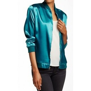 Painted Threads NEW Green Womens Size Small S Satin Bomber Jacket