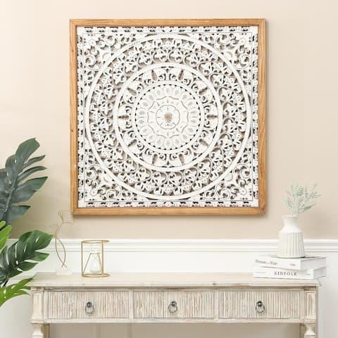 White Wood Fleur-De-Lis Wall Decor