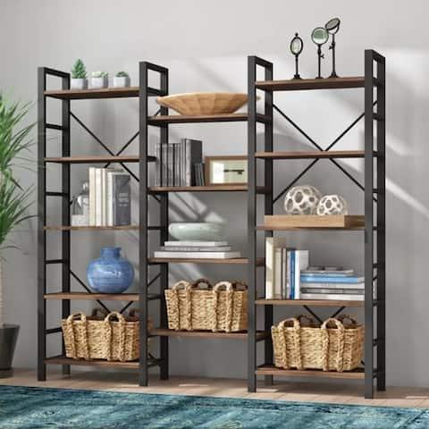 Triple Wide Industrial 5-Shelf Bookcase, Large Open Etagere Bookshelf