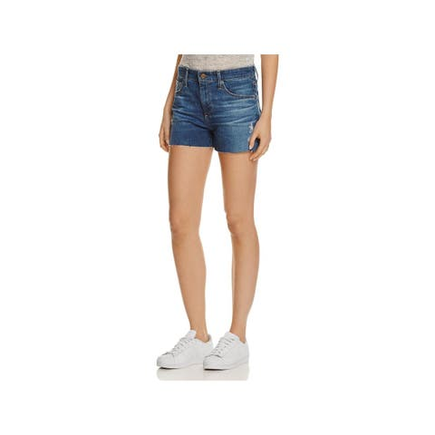 Adriano Goldschmied Womens Sadie Denim Shorts High Rise Distressed