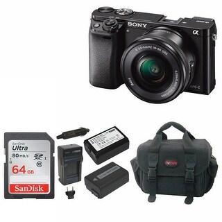 Sony Alpha a6000 Mirrorless Camera w/ 16-50mm Lens and 64GB SD Card Bundle
