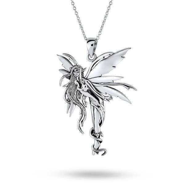 silver fairy necklace for girls LK13015 unique silver fairy charm silver fairy pendant fairy for gift Sterling silver fairy necklace