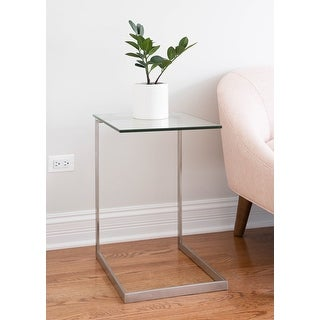 Link to Porch & Den Birchshire Stainless Steel/ Glass End Table Similar Items in Living Room Furniture