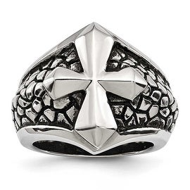 Stainless Steel Antiqued Cross & Caviar Ring (20.5 mm) - Sizes 9 - 11