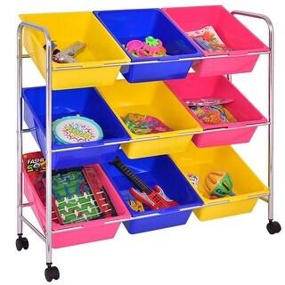 Kids Toy Storage Shelf Organizer 9 Bins, Multi-colored Bin Cart ,Playroom - multi-colore - 9-drawer