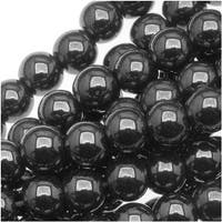 Hematite 4mm Round Beads Metallic Gray / 16 Inch Strand
