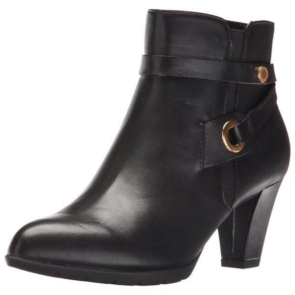 Anne Klein Womens akchelesey Leather Almond Toe Ankle Fashion Boots