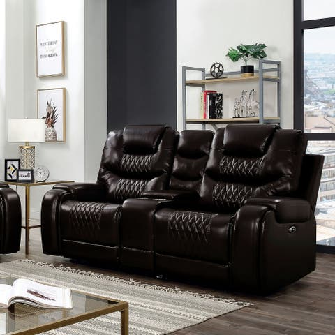 Furniture of America Baxe Transitional Faux Leather Loveseat