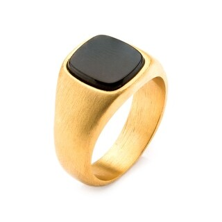 Inox Stainless Steel Matte Gold IP Signet Ring with Polished Onyx . Available Sizes: 9 - 12