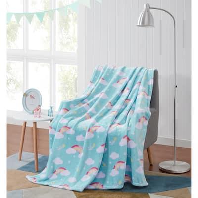 Asher Home Rainbows Galore Plush Throw Blanket