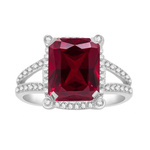 Sterling Silver with Ruby and Natural White Topaz Halo Ring