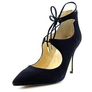 Ivanka Trump Deenal Women Pointed Toe Suede Black Heels