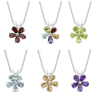 Link to Sterling Silver Amethyst, Blue Topaz, Garnet, Peridot or Multi-gemstone Flower Pendant Necklace Similar Items in Necklaces