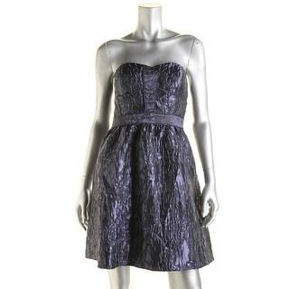 Aqua Womens Jacquard Strapless Party Dress
