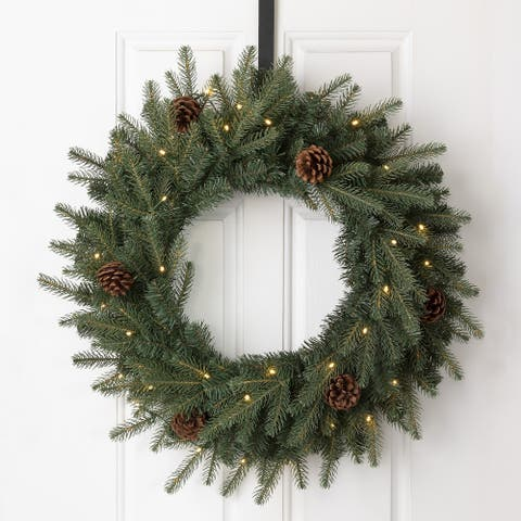 Glitzhome Pre-Lit Greenery Pine Cone Christmas Wreath with Warm White LED Light