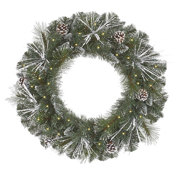 """24"""" Pre-Lit Flocked and Glittered Mixed Pine Christmas Wreath - Clear Lights"""