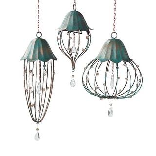 Grasslands Road Crystal Hanging Lanterns, Set of 3 Cordless LED Lighted Flower Shaped Lights, Battery Powered