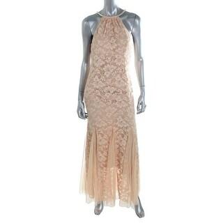 Xscape Womens Petites Lace Halter Evening Dress