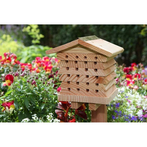 SkyMall Mason and Leafcutter Cedar Solitary Bee House - Wood