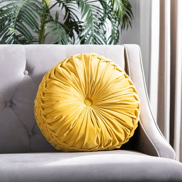 Safavieh Leila 18-inch Button Tufted Round Velvet Pillow. Opens flyout.