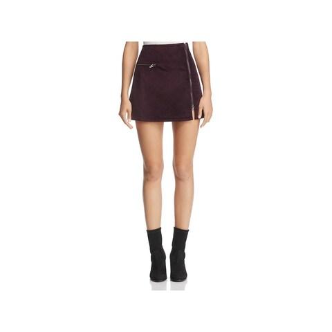 Blank NYC Womens Mini Skirt Velveteen Asymmetric Zipper