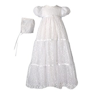 Baby Girls White Layered All Over Lace Bonnet Dress Christening Outfit