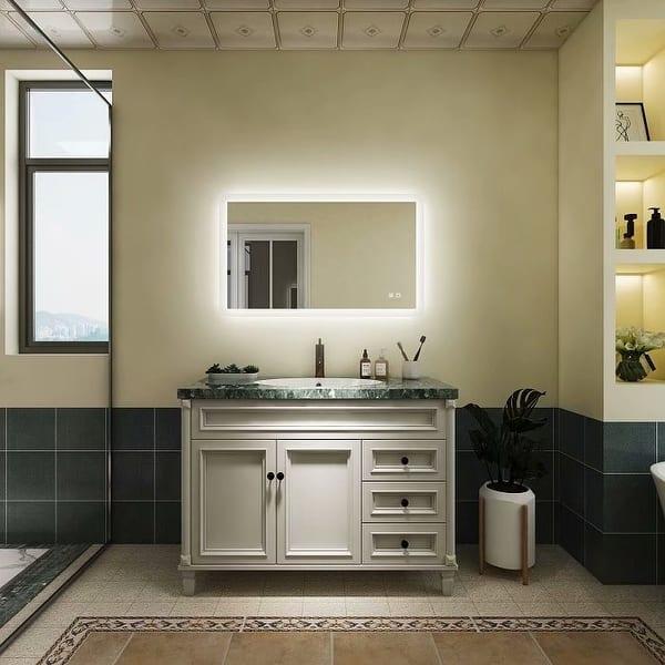 Exbrite 40x24 Inch Anti Fog Led Bathroom Mirror Backlit Overstock 32464741