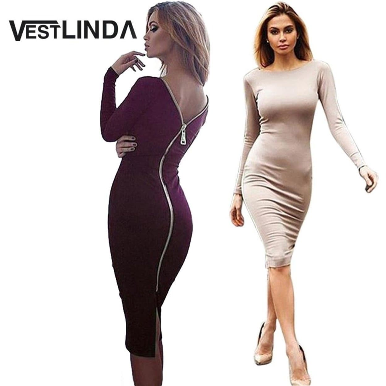 Vestlinda Plus Size Robe Hot Femme Midi Sheath Bodycon Dress Long Sleeve  Elegant Dresses Women Back Zipper Pencil Tight Dress