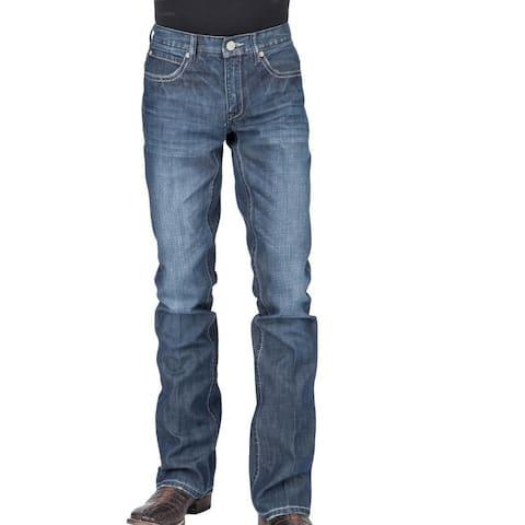 Stetson Western Denim Jeans Mens Bootcut Low Blue