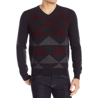 Perry Ellis NEW Red Mens Size Large L Diamond Colorblock V-Neck Sweater