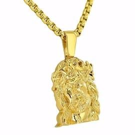 Mens Designer Pendant Jesus Face Charm 18K Gold Finish Free Stainless Steel Box Necklace