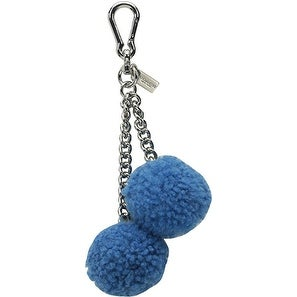 Coach Shearling Pom Pom Bag Charm With Gift Box (Silver/Peacock)