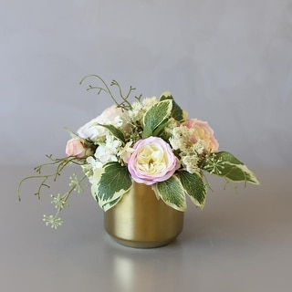 Mademoiselle Greenery with Rose Floral in Ceramic Vase - Green