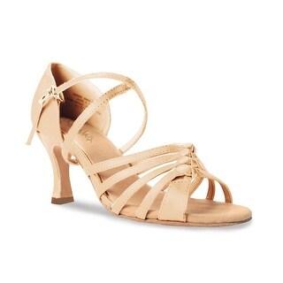 Sansha Adult Light Tan Satin Criss-Cross Strap Gipsy Ballroom Shoes Womens