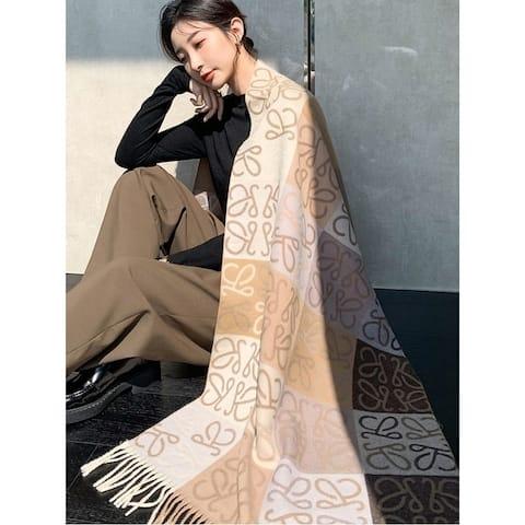 Fashion Contrast Color Printed Tasseled Shawl&Scarf - FREE SIZE