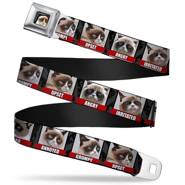 Grumpy Cat Face Full Color Black Grumpy Cat Bad Mood Blocks Webbing Seatbelt Belt