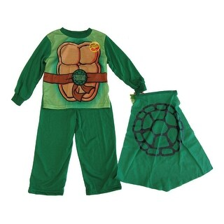 Nickelodeon Little Boys Green TMNT Long Sleeve Cape Two Piece Pajamas 2T
