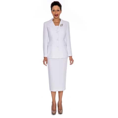Giovanna Signature 2pc Notch Collar 3-button Skirt Suit w/ Brooch