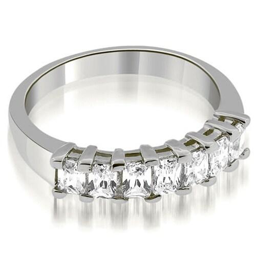 0.85 cttw. 14K White Gold Prong Set Emerald Cut Diamond Wedding Band