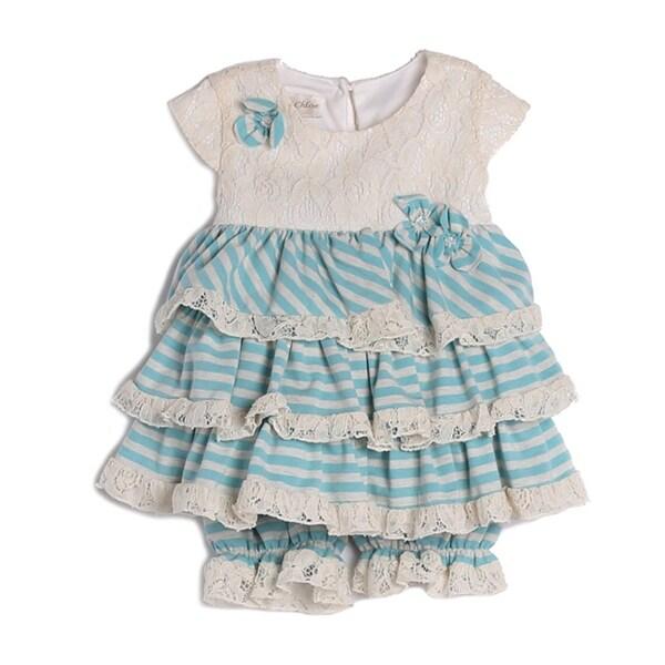 Isobella & Chloe Baby Girls Blue White Stripe Lace Ruffle Elastic Layette