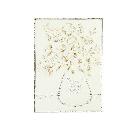 "24""H Embossed Flowers in Vase Distressed Metal Wall Decor - Distressed White"