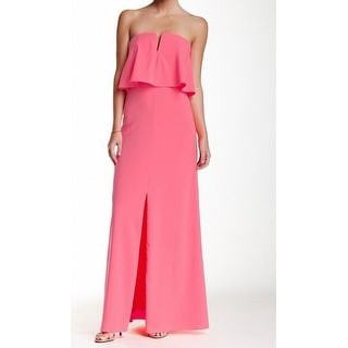 Marina NEW Pink Solid Women's Size 8 V-Neck Popover Maxi Gown Dress