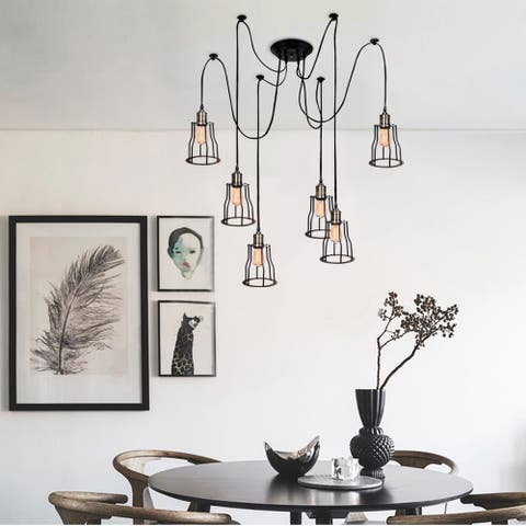 Gymax Vintage Edison Multiple Ajustable DIY Ceiling Spider Lamp Light