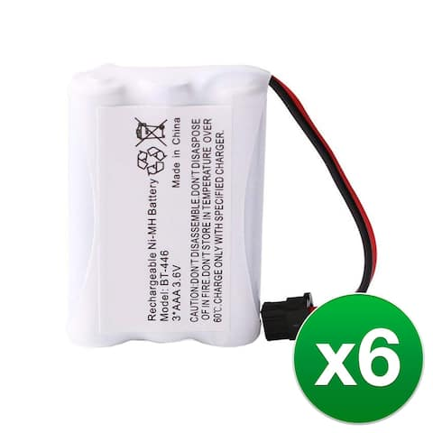 Replacement For Uniden BT446 Cordless Phone Battery (800mAh, 3.6V, Ni-MH) - 6 Pack - Multicolor