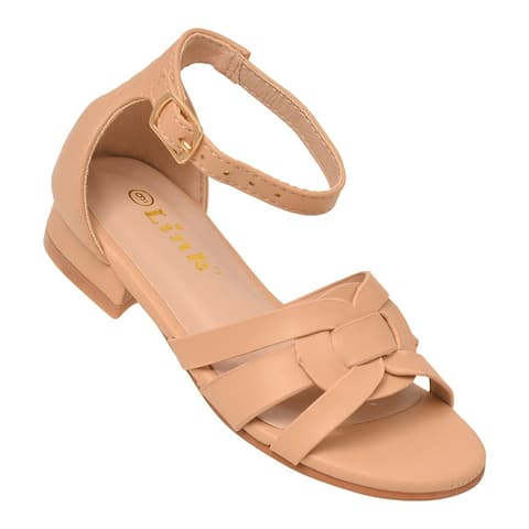 Girls Nude Adjustable Buckled Ankle Strap Open Toe Trendy Sandals