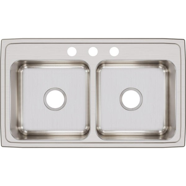 """Elkay LR3319 Lustertone 33"""" Double Basin 18-Gauge Stainless Steel Kitchen Sink for Drop In Installations with 50/50 Split and"""