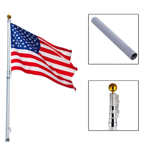 Costway 20Ft Aluminum Telescoping Flagpole Kit Outdoor Gold Ball + 1 US America Flag New
